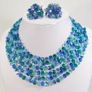 Gorgeous Signed Vogue Blue Green Aurora Borealis Glass Crystal Necklace Set