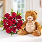 Flowers and bear