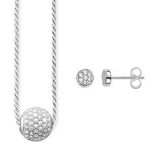 THOMAS SABO NECKLACE & EAR STUDS WHITE PAVÉ